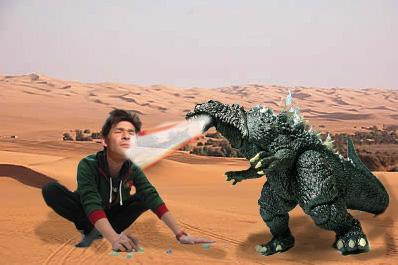 照英がサハラ砂漠でゴジラとおはじきしてる画像ください