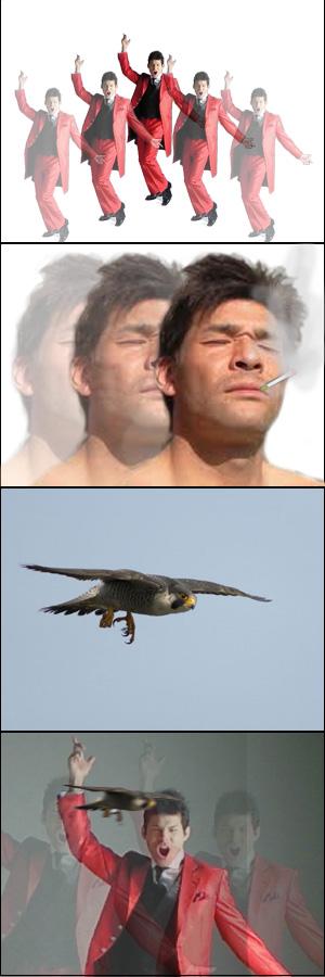 照英が分身の術しながら煙草吸ってたら頭に鳥が刺さる4コマ漫画風の画像ください