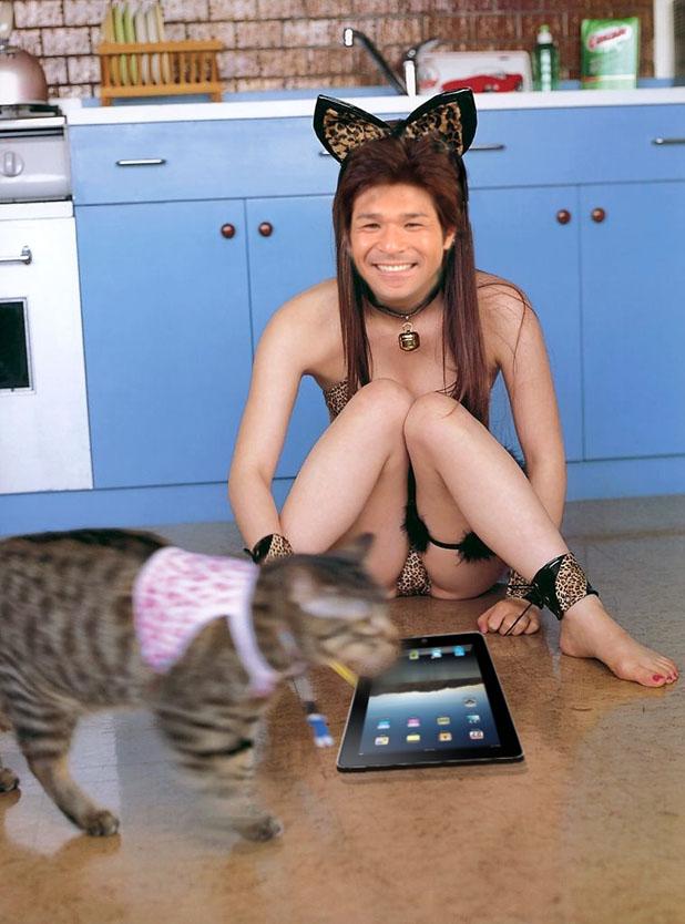 照英が猫のコスプレしながらiPadいじってる画像ください