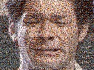 たくさんの照英の画像を一枚一枚パズルのピースのように並べて巨大な照英の顔を完成させた画像ください