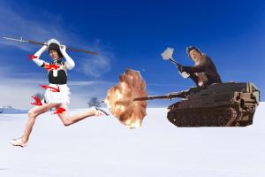 雪原でメイド服着ながら槍持っている照英が撃たれながら戦車から逃げている画像ください